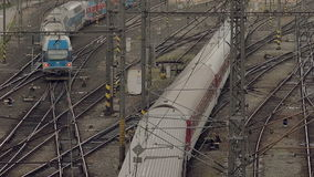Prague Train. PRAGUE, CZECH REPUBLIC - MAY 25, 2015: Train Arriving to Prague Main Station (Hlavni Nadrazy), Aerial Top View of Intersecting Rails at Train stock footage
