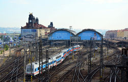 Prague train station, City Elephant train Royalty Free Stock Images