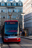 Prague tram. The tram moves on rails down the street Prague Stock Image
