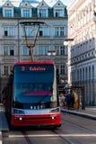 Prague tram. The tram moves on rails down the street Prague stock image