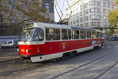 Prague tram with autumn trees Royalty Free Stock Image