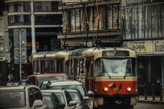 Prague tram on the street stock image