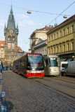 Prague tram on the street. Royalty Free Stock Photos