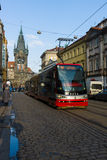 Prague tram on the street. Stock Image
