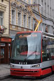 Prague. Tramway on the street Royalty Free Stock Image