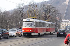 Prague. Tramway on the street Royalty Free Stock Photo