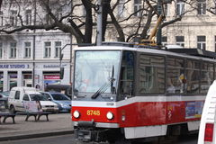 Prague. Tramway on the street Stock Photos