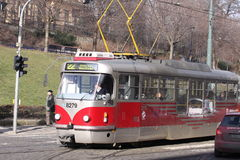 Prague. Tramway on the street Royalty Free Stock Photos