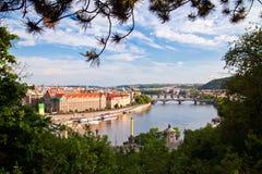 Prague Through Trees Royalty Free Stock Photos