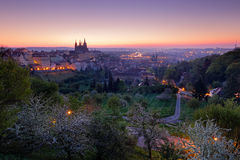 Prague twilight morning. Spring in city Prague in Czech Republic. Beautiful Prague before sunrise. Night in the Prague city, Centr Stock Image