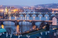 Prague at Twilight. View of Bridges on Vltava Stock Image