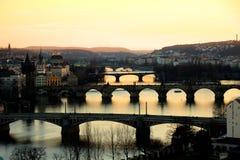 Prague at Twilight, view of Bridges on Vltava royalty free stock photography