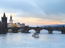 Prague at Twilight, view of Charles bridge Royalty Free Stock Photos