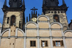Prague Tyn Church Detail. View of Tyn Church in the centre of Prague. (Central Europe). In this church is buried Danish astrologer and mathematician Tycho Brahe Stock Photos