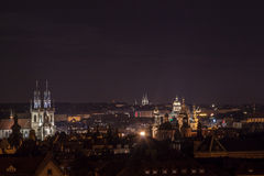 Prague Tyn Church. Old town square from above stock photography