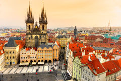Prague, Tyn Church and Old Town Square Stock Photography