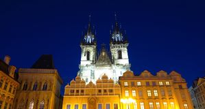 Prague Tyn Church in Old Town Square at night Royalty Free Stock Photo