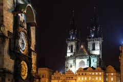 Prague - Tynsky palace and astronimical clock Royalty Free Stock Photography