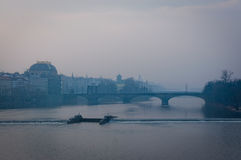Prague under fog Stock Photo