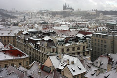 Prague under snow. royalty free stock photo