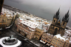 Prague under snow. Stock Photo