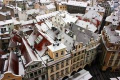 Prague under snow Stock Image
