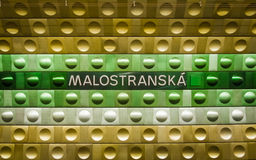 Prague underground subway, Malostranska station. Royalty Free Stock Images