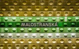 Prague underground subway, Malostranska station. Royalty Free Stock Images