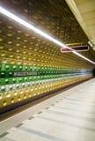 Prague underground subway, Malostranska station. Royalty Free Stock Image