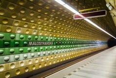 Prague underground subway, Malostranska station. Stock Photo