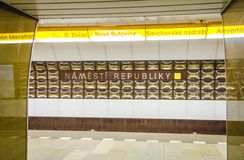 Prague underground subway. Namesty Republiky st. Royalty Free Stock Image