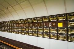 Prague underground subway. Namesty Republiky st. Royalty Free Stock Photo