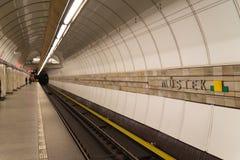 Prague underjordisk station royaltyfri bild