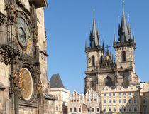 Prague (UNESCO). Ancient City of Prague (UNESCO), Old-town Square with Old-Town Townhall with ancient Prague clock  and The Church of Mother of God in front of T Royalty Free Stock Photos