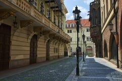 Prague University - Karolinum. Karolinum - medieval Prague University founded in 1348, on the left Estates Theater Stock Image