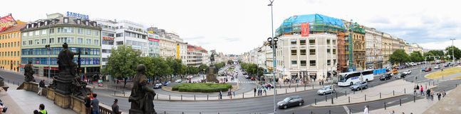Prague Vaclavske namesty panorama 01 Stock Photography