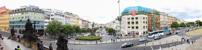 Prague Vaclavske namesty panorama 01 Stock Photography
