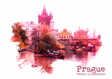 Prague vector illustration Royalty Free Stock Photo