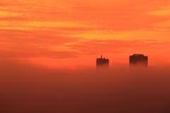 Prague veiled in mist Stock Photo