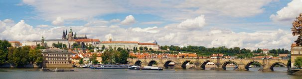 A very extensive panorama of the Prag: the Vltava River, the Charles Bridge and the Prague Castle. Prague. royalty free stock photos