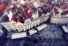 Prague, vieille place de République Tchèque le 26 décembre 2012 - avec une vue de s-oeil de ` d'oiseau Image libre de droits