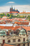 Prague view from above in  daytime with cloudy blue sky, Vertica Stock Images