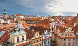Prague view from above in daytime with cloudy day Royalty Free Stock Images