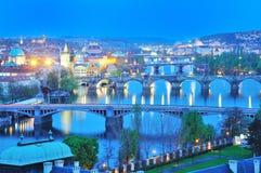 Prague,view of Bridges across Vltava river in evening Royalty Free Stock Images