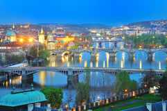 Prague,view of Bridges across Vltava river in evening Royalty Free Stock Images