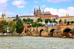 Prague view with Charles Bridge Royalty Free Stock Image