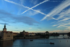 Prague. View from the Charles Bridge at sunset. Airy crossroads. Royalty Free Stock Images