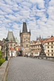 Prague. View from the Charles Bridge to the Little Quarter Bridg Stock Photo