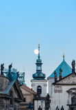 Prague moonrise Stock Photos