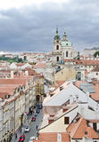 Prague. View from the Little Quarter Bridge Tower to the Cathedr. The Church of St Nicholas is the Prague's greatest exponents of High Baroque. It is located Royalty Free Stock Photo
